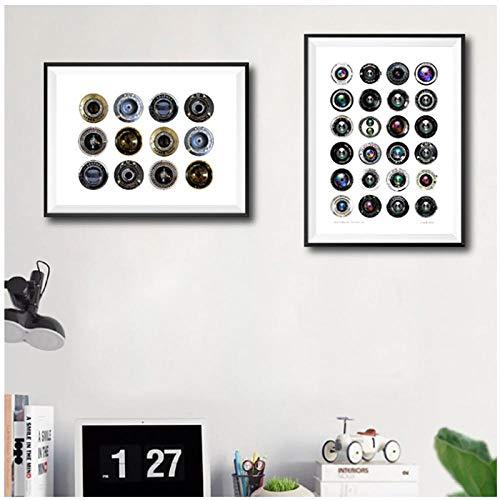 Vintage Camera Lenzen Craft Circles Posters en Prints Fotografie Liefhebber Gift Moderne muur Kunst Canvas Schilderij Foto's Decor-40x60cmx2pcs geen Frame