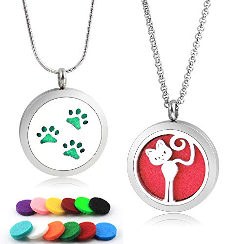 Lademayh Kids Diffuser Necklace for Essential Oils, Cute Cat and Paws Prints Designed Aromatherapy Jewelry Gift for Children Women (2 Lockets, 2 Types Chains, 12 Felt Pads)