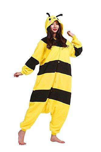 Hstyle Unisex Adulto Mamelucos De Dibujos Animados Pijamas, Disfraces De Halloween Trajes De Ropa De Dormir De Color Amarillo De La Abeja Pequeña