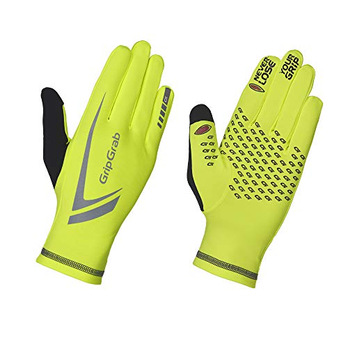 GripGrab Running Expert Winter Thermal Full-Finger Touchscreen Gloves - Highly-Visible, Sweat-Wiper, Black, Neon HiViz