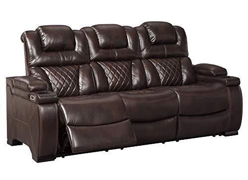 Signature Design by Ashley Warnerton Power Reclining Sofa with Adjustable Headrest Chocolate