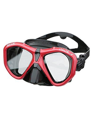 SEAC Italia, Maschera Sub per Immersione Subacquea Professionale, Ricreativa e Snorkeling Unisex Adulto, Nero/Rosso, Regular Fit