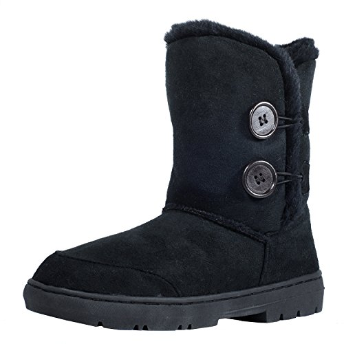Clpp'li women snow boots Button Fully Fur Lined Waterproof Winter Snow Boots-Black-9