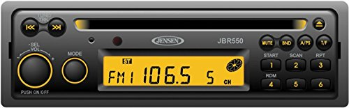 Jensen JBR550 Heavy Duty AM FM CD Stereo, 12 Volt DC, 160 Watts (4x40W) Output Power, Single Disc CD CDR CDRW Playback, USA AM FM Tuner with 30 Station Presets (12 AM   18 FM), PA Microphone Input