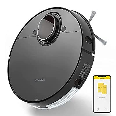 VEAVON V8 Robot Vacuum Cleaner with Wi-Fi Connected, 4000Pa Strong Suction Lidar Robotic Vacuum Cleaner, Automatic Vacuum and Mop Cleaner, Mapping Technology, No-mop Zones, Virtual Walls, Black