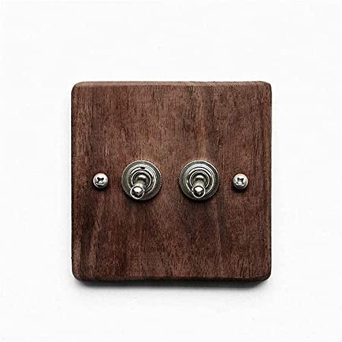 PJDOOJAE Panel de interruptores Hecho a mano Interruptor retro Panel de madera Palanca 1 Gang / 2 Gang / 3 Gang 2 Way Single Doble Control Lámpara de control Lámpara de control de pared Interruptor de