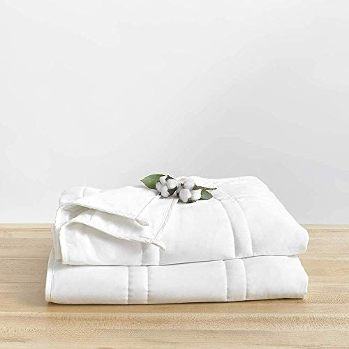 Baloo Soft 15lb Weighted Blanket, Heavy Cotton Quilted Blanket from in Pebble White Color, 90x90 inches