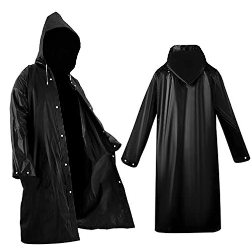 ALBOYI Universal Portable Raincoat, 2 Pack black Waterproof EVA Rain Ponchos for Men and Women, Adults Reusable Rain Coats Long Sleeve Rain Poncho for Camping, Hiking, or Any Outdoor Activities