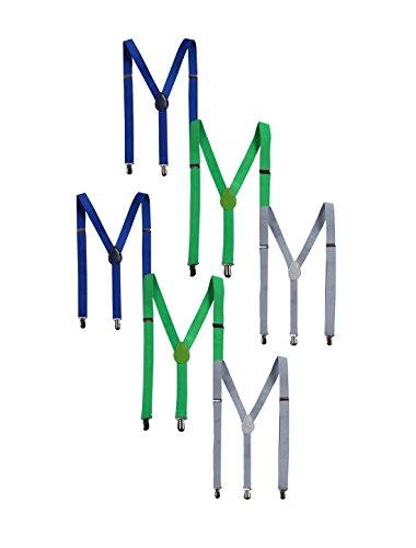sourcing map Élastique unisexe Y forme bretelles réglables colliers métalliques Gris clair + vert pomme + bleu royal - pack de 6 90 x 2.5cm/35.4 x 1 pouces(Max.L*W)