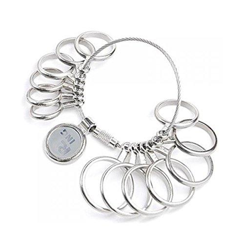 ROSENICE Ringgrößenmesser Ringmaß Metall U.S. Größe 1-13 (Silber)