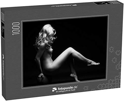 fotopuzzle.de Puzzle 1000 Teile Sexy Dame - schwarz-weiß