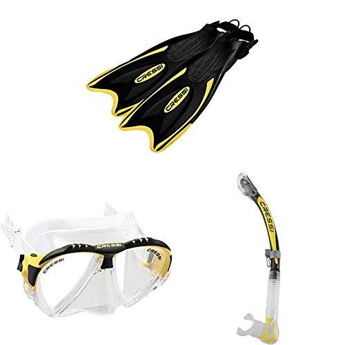Cressi Palau - Erwachsene und Kinder Premium Flossen Tauchen/Schnorchel + Matrix Unisex Tauchen Schnorcheln Maske & Alpha Ultra Dry - Schnorchel Trocken Ideal zum Schnorcheln, Apnoe und Tauchen