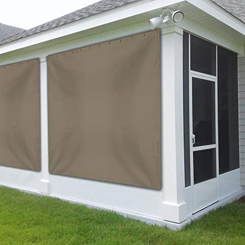 Outdoor Vinyl Curtain for Patio Furniture 12 Oz - Weather Resistant Patio Blackout Drapes for Dining Room Window - with Rustproof Grommets - for Pergola, Porch, Gazebos (8' x 10', Beige)