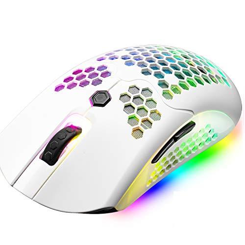 Drahtlose/verkabelte leichte Gaming-Maus, Dual-Modi, wiederaufladbare 800-mAh-Mäuse, PMW3325,12000 DPI, 16 RGB-Hintergrundbeleuchtung, 69G Honeycomb Shell-Design, 7 programmierbare Tasten mit Treiber