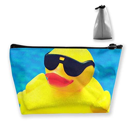 Reise Make-up Tasche Niedlichen Gummi Ducky mit Sonnenbrille Make-up Beutel Toilettenartikel Aufbewahrungskupplung Organizer mit Reißverschluss für Frauen & Männer