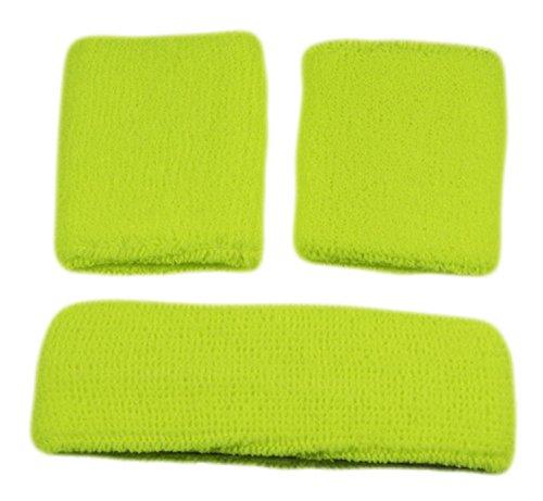 Ensemble de sport Itzu avec bandeau et 2 bracelets en tissu éponge, différentes couleurs disponibles - Jaune - Taille Unique