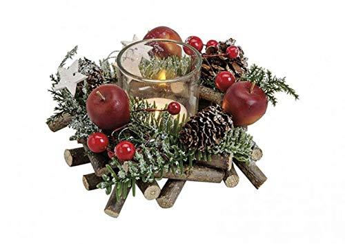 itsisa Winterliches Adventsgesteck m. Zweigen & Äpfeln inkl. Teelichtglas, Adventsdeko (Adventskranz), weihnachtliche Tischdeko