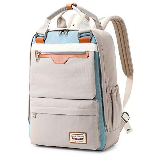 Myhozee Damen Herren Rucksack Mode Schulrucksack Lässiger Studenten Backpack Tagesrucksack Daypack mit Laptopfach Laptop Rucksack für 15.6-Zoll-Laptops, Grau