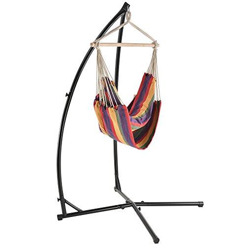 [casa.pro] Katoenen hangstoel incl. standaard - meerkleurig
