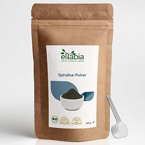 eltabia Bio Spirulina Pulver 100g Kleines Pack aus kontrolliert biologischen Anbau, ohne Zusätze, Rohkostqualität