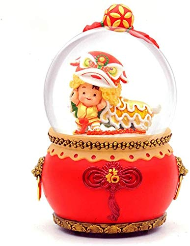 ccfgh Crystal Ball Music Box Chinese Lion Dance Illuminate New Year's Gift Red Kung Hei Fat Choi
