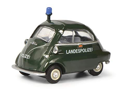 Schuco 452021600 BMW Isetta Landespolizei, Modellauto, Maßstab 1:64, grün