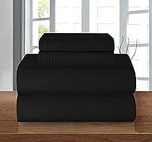 Elegant Comfort Juego de sábanas de 1500 Hilos, de Lujo, Sedoso, Suave, de Calidad egipcia, Color Negro