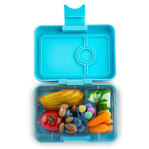 Yumbox Mini XS Snackbox - 3 Fächer (Nevis Blue) | Kleine Kinder Bento Box | Brotdose Vesperbox für Krippe, Kindergarten