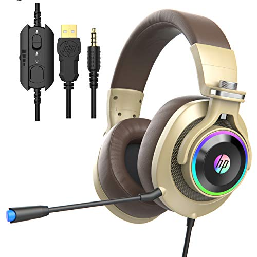 HP Wired Gaming Headphones Xbox One Headset with Surround Sound, RGB LED Lighting, Noise Isolating Over Ear Gaming Headset with Adjustable Mic, for PS4, Xbox One, Nintendo Switch, PC, Laptop (Gold)