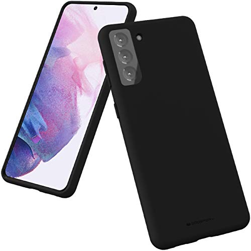 Goospery Liquid Silicone Case for Galaxy S21 Plus (6.7 inches) Jelly Rubber Bumper Case Cover with Soft Microfiber Lining (Black) S21P-SLC-BLK