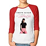 Troye-Sivan Womens Novelty 3/4-Sleeve Scoop Neck ShirtRed S