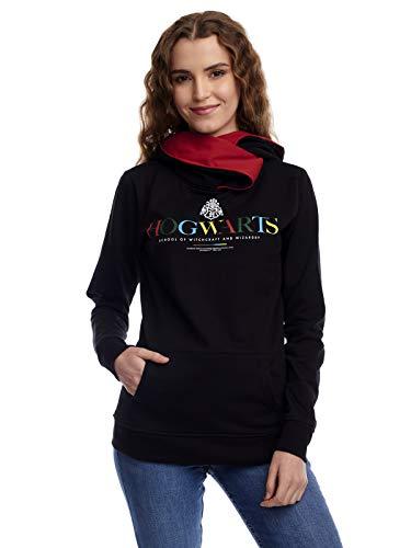 Harry Potter Hogwarts - Felpa da donna con collo sciallato multicolore L