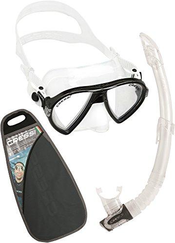 Cressi Ocean VIP Conjunto Combo de Snorkel, Unisex Adulto, Transparent/Negro, Talla Única