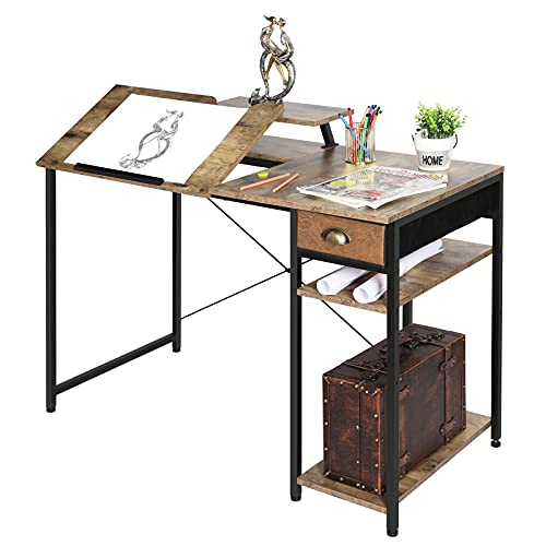 """X-cosrack Computer Desk with Storage Shelves Drawer, 43"""" Home Office Desk with Monitor Stand, Adjustable and Tiltable Draft Drawing Table Writing Study Workstation for Home Office Artist, Rustic Brown"""