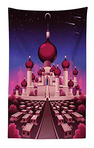 ABAKUHAUS Fantasía Tapiz de Pared y Cubrecama Suave, Palacio Árabe de Noche Cuento de Hadas Oriental Paisaje Ilustración, No se Desliza de la Cama, 140 x 230 cm, Magenta