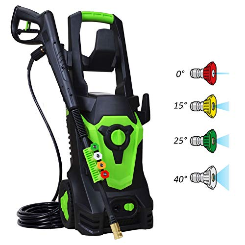 PowRyte Electric Pressure Washer with 3800 PSI 2.6 GPM, Electric Power Cleaner with 4 Interchangerable Spray Tips,Washer Machine with A Tall Handle-