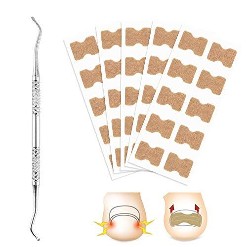 Freeorr 50 stücke Zehennagel Patch mit 1 Stück Nagelhaken, Eingewachsene Zehennagelentfernung Korrektur Patch Fußnagel Behandlung Tool, Zehennagel Korrektur Aufkleber