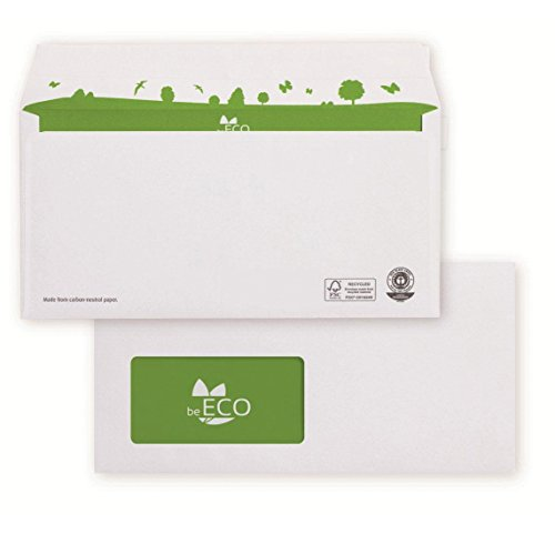 beECO Briefumschlag Din Lang (110x220mm) haftklebend mit Fenster recy weiß 80g FSC  500 Stück