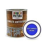 Pintura Azul Luminoso Antioxidante Exterior para Metal minio Pinturas Esmalte Antioxido para galvanizado, hierro, forja, barandilla, chapa para interiores y exteriores - Lata 750ml