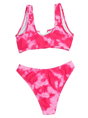 SheIn Women's Scoop Neck Cut Out Front Sexy Tie Dye 2 Piece Bikini Swimsuits Large Pink