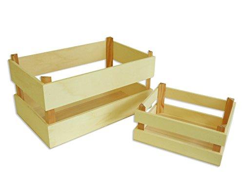 Cajas frutas (2 unidades). Cestos frutas. En crudo, madera sin tratar. Se pueden pintar. Medidas Caja pequeña (ancho/grueso/alto): 25*20*11 cm. Medidas Caja grande (ancho/grueso/alto): 40*25*20 cm.