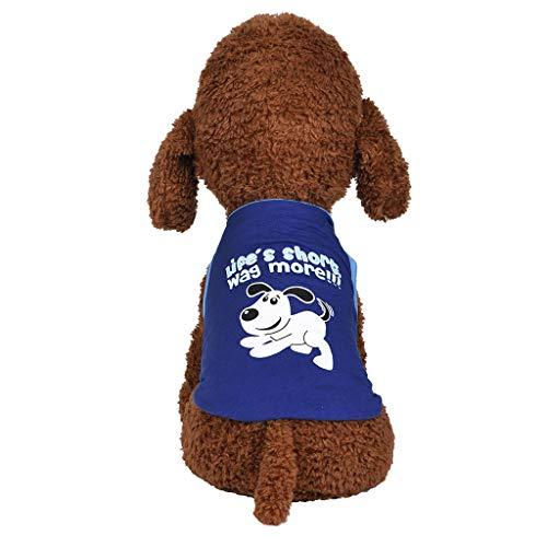 Notdark Haustier Sommer Kurzarm T-Shirt Hund Gedruckt Pullover Weiches und Bequemes Hundekostüm für Kleine und Mittlere Hunde Katze Welpen (L,Blau)