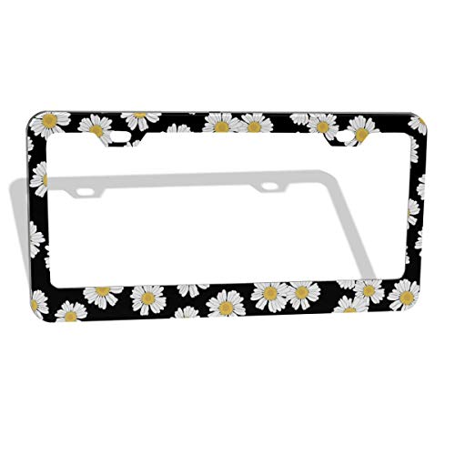 DZGlobal White Daisy Black Decorative License Plate Frame - Customized Personalized Metal Aluminum License Plate Cover Holder Auto Car Frames for US Standard 2 Hole and Screws