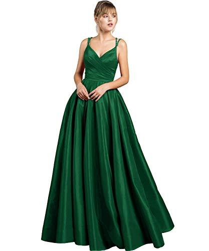 Cloverbridal Damen Sexy V-Ausschnitt Abendkleider Ballkleider Lang Spaghetti-Träger Partykleider Brautjungfer Kleider mit Taschener Smaragdgrün 32