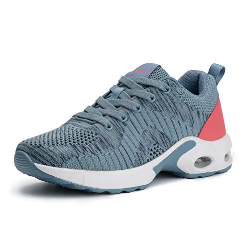 PAMRAY Laufschuhe Damen Sneaker Turnschuhe Gymnastik Straßenlauf Schuhe Schnüren Freizeitschuhe Blau 40