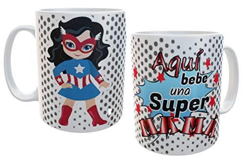 SAQUITOMAGICO Taza Aqui Bebe una Super mamá!!!! americawoman