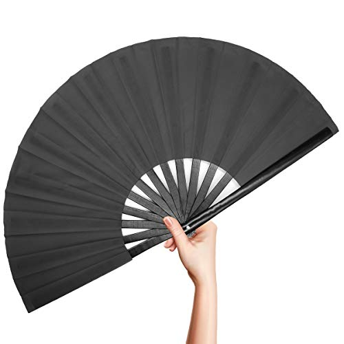 OMyTea - Abanico de Mano Plegable de bambú para Hombres y Mujeres, Color sólido japonés Chino Kung Fu Tai Chi, Ventilador de Mano con Funda de Tela para Rendimiento, Decoraciones, Baile, Regalo