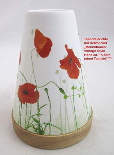 Hellmann Versand GmbH Teelichtleuchter Vintage Style Nr.32 Mohnblumen rot/weiß ca. 14,5 cm hoch