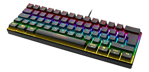 DELTACO Mini Clavier Gamer Mécanique RGB, Clavier 60%, 19 Modes Lumineux Programmables, 100% Anti-ghosting, n-Key Rollover, Switches Interrupteurs Rouges, Touches Double Injection, PC/Consoles, USB
