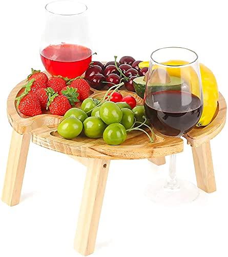 Weintisch Tragbar,11.8X6.3inch Klappbarer Picknicktisch aus Holz mit Weinglashalter,Weintisch im Freien,aus Holz Snacktisch,Tragbarer Picknicktisch im Freien,Tragbarer Zusammenklappbarer Tisch